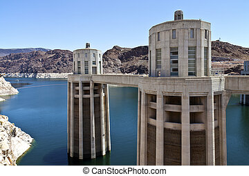Hoover Dam Nevada. - Hoover Dam electrical power plant...