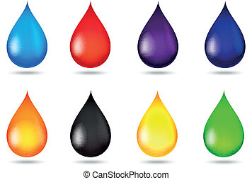 Drop of liquid collection set - Vector illustration of Drop...