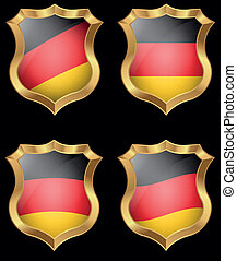 Germany flag on metal shiny shield
