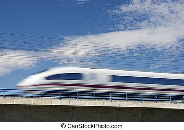 AVE train - view of a high-speed train crossing a viaduct in...