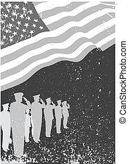 USA flag with soldiers saluting. - American grunge flag with...