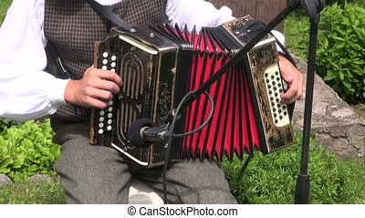 musicians playing with accordion - musicians cheerfully...