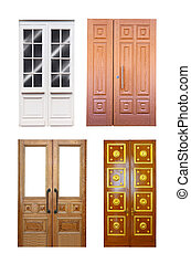 Set of double wooden doors over white - Set of double wooden...