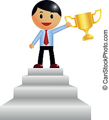 Corporate Guy wins a trophy - Vector illustration of...