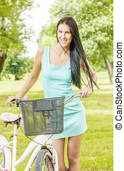 女, 自転車, 若い