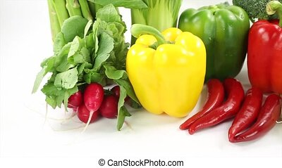 Vegetables varieties over white background
