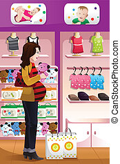 Pregnant woman shopping baby stuff