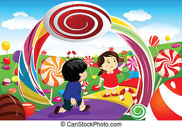 Kids playing in a candy land - A vector illustration of...