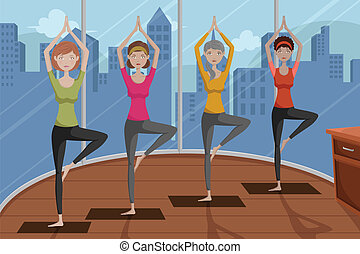 People doing yoga in a yoga studio - A vector illustration...