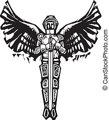 Michael Archangel - Archangel Michael in armor and sword in...