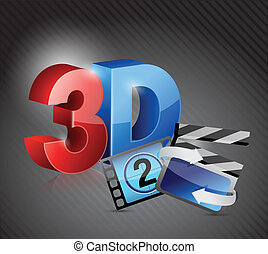 3D movie concept illustration design over black