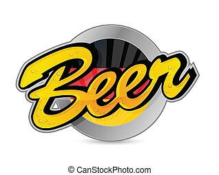 German Beer poster sign seal illustration