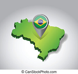 Brazil map and flag illustration design over green