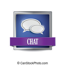 Chat sign reflected on glossy blue square illustration...