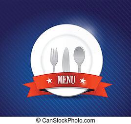 Menu restaurant with plate illustration design over blue
