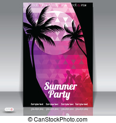 Summer Beach Party Flyer with Dancing Young People