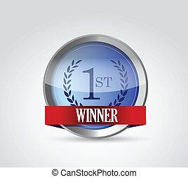 no 1 winner seal illustration design
