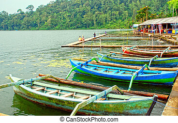 Lake Bratan, outrigger canoes (prahu) - Traditional boats on...