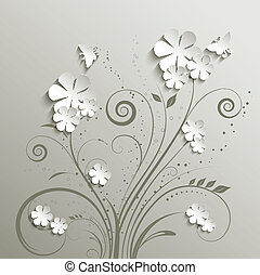Flowers and butterflies - Decorative floral background with...
