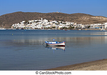 Mylos island in Greece - Adamas town area at Mylos island in...