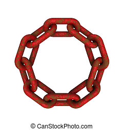 Chains connected - 3D model of eroded and rusted red chains...