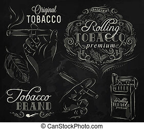 Collection tobacco chalk - Collection on tobacco and smoking...