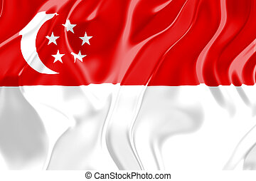 Flag of Singapore, national country symbol illustration