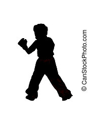 Silhouette of a boxer on white background