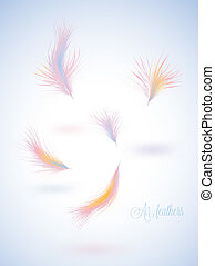 Set of vector warm colors fluffy feathers