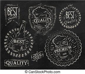 Vintage beer elements chalk - Vintage print design elements...