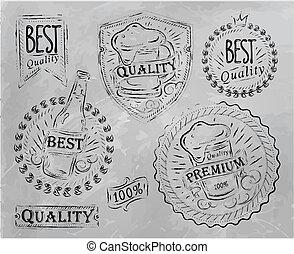 Vintage beer design elements - Vintage print design elements...