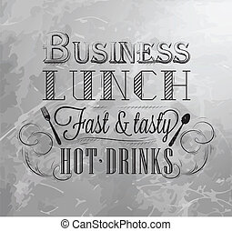 Business lunch coal board with text business lunch every day...