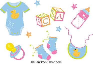 Baby's clothes - baby clothes with a bottle nipple cubes in...