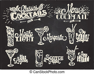 Set of on black background - Set of cocktail menu in vintage...