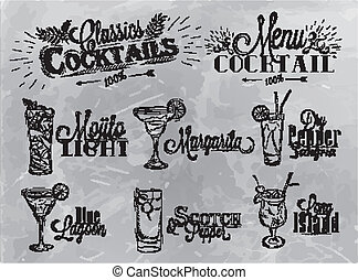 Set of cocktail on gray background - Set of cocktail menu in...