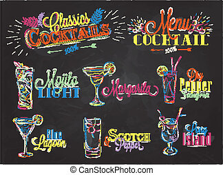 Set of cocktail menu in vintage style stylized drawing of...