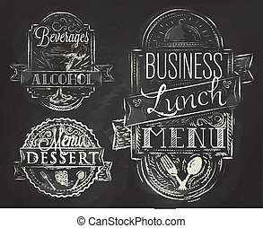 Elements business lunch chalk - Elements on the theme of the...