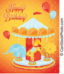 Birthday card with carousel - birthday carousel with...