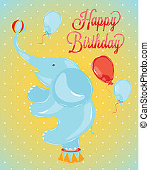 Birthday card with elephant - Birthday card in the style of...