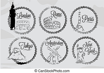 Icons with world cities, London, New York, Rome, Amsterdam,...
