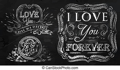 Chalk design elements of love - Chalk design elements on...