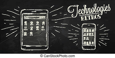 Icons on modern technology black - Icons on modern...