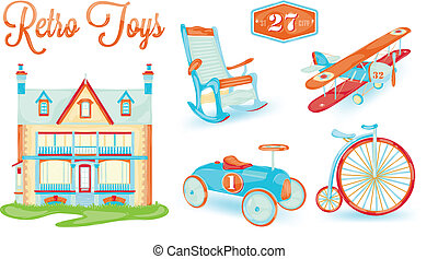 Retro toy - retro toy doll house, bicycle, car, plane,...