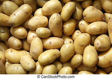 Close up of new potatoes outside a greengrocers