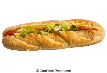 Cheese salad baguette isolated on a white background.