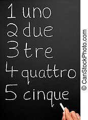 Italian numbers. - A teacher writing numbers one to five in...