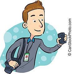 Journalist  - journalist looking for news. vector eps 8.