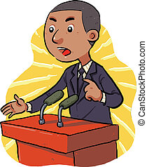 Politician - speech in front of the audience. vector eps8.