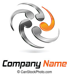 Logo 3d abstract chrome and orange for company and business...