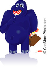 blue candy monster - Vector illustration of a blue candy...